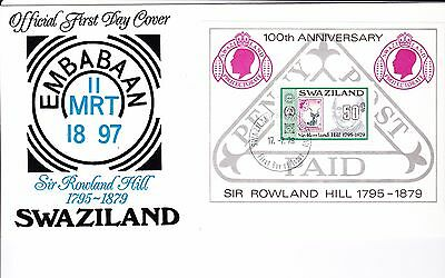 Swaziland 1979 - Rowland Hill Miniature Sheet First Day Cover. - . Unaddressed
