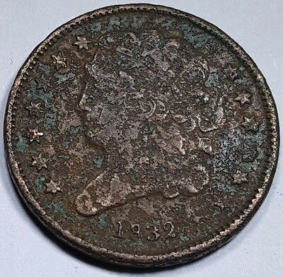 1832 US Half Cent Braided Hair Hay Penny Antique U.S. Currency Vintage USA Money