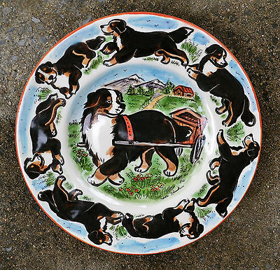 Bernese Mountain Dog.  Handpainted ceramic plate .OOAK .LOOK