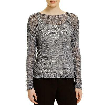 Eileen Fisher 4247 Womens Gray Open Stitch Pullover Sweater Top XL BHFO
