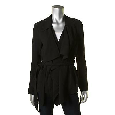 Vince Camuto 1082 Womens Black Crepe Open Front Collar Jacket 0 BHFO