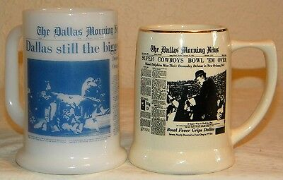 2 Mugs 1970s Dallas Cowboys Super Bowl VI Tom Landry & XII Doomsday D beer glass