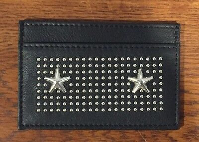 Authentic JIMMY CHOO Black Leather Star Studded Card Holder Dean Wallet Credit