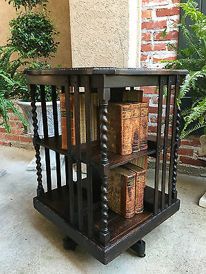 Antique English Oak BARLEY TWIST Revolving Bookcase Bookshelf Library Table