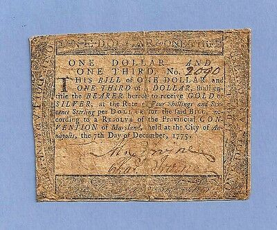1775 $1 1/3rd Dollar Annapolis Maryland Colonial Currency Very Fine Grade