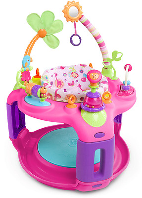 Girls Bright Starts Sweet Safari Bounce-a-Bout Activity Center Baby Bouncer Toy