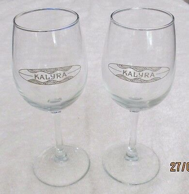 Set of 2 Kalyra  Wine Glasses Santa Ynez California Winery