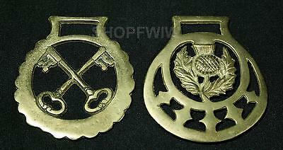 2 Vintage Antique Brass Horse Harness Saddle Medallions