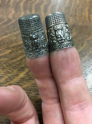 Pair Of 🦉Made In Portugal Sterling Owl Thimbles