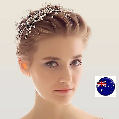 Women Lady Girls White Wedding Bride Pearl Silver Hair Headband Hoop tiara Prop