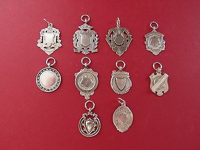 10 ANTIQUE SILVER HALLMARKED WATCH FOBS POSH PET TAGS NOT ENGRAVED 65g not scrap