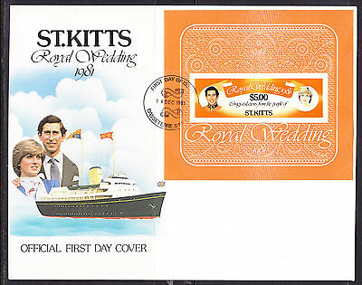 St Kitts 1981 Royal Wedding - Charles & Diana Wedding -   MS First Day Cover
