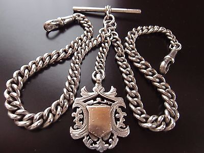 1920 HM SILVER DOUBLE ALBERT WATCH CHAIN +  WHH DOUBLE SIDED 9ct GOLD FRONT FOB