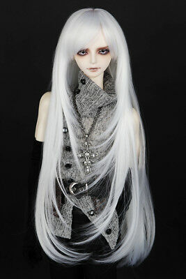 """6-7"""" 1/6 BJD White Cool Long Buckle Layer Tips Wig LUTS Doll SD DZ Volks Hair"""