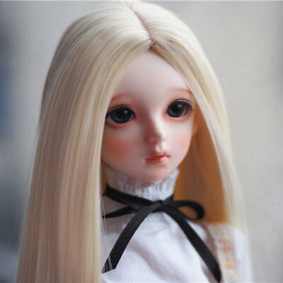 """6-7"""" 1/6 BJD Doll Soft Straight Smooth Light Mellow Blonde Long Wig Hair UAL-5s"""