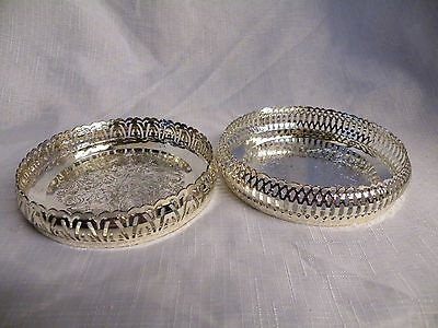 Vintage Silver Plated Two Wine/ Champagne Bottle Coasters