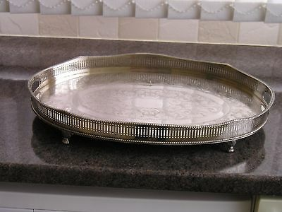 SILVER PLATED SERVING/DRINKS TRAY.2 HANDLED/GALLERY/FOOTED.18x12 inches...