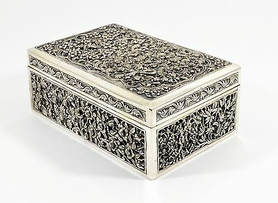 Antique 19th Century Chinese solid Silver Cigarette/Cigar Box, c1880