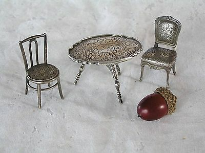 Antique Sterling Silver Miniature Dollhouse Folding Oval Table & 2 Chairs 70 Gms