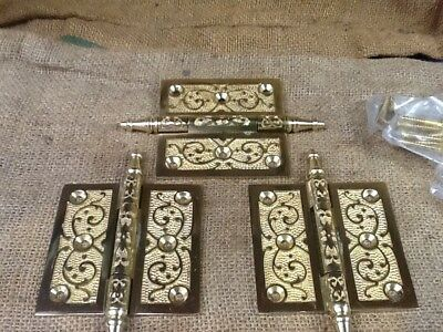 Vintage Set Of 3 Brass Steeple Top Door Hinges  3 1/2 X 3 1/2""
