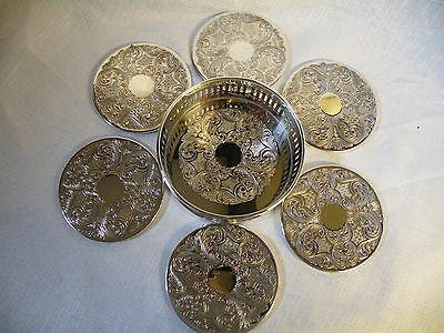 Vintage Arthur Price Silver Plated Wine Bottle Coaster With 6 Drinks Coasters