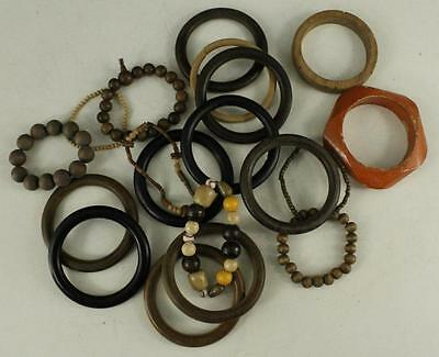 Vintage Costume Jewelry Mixed Lot Bracelet Bangle Stretch Wooden Brown 19PCS