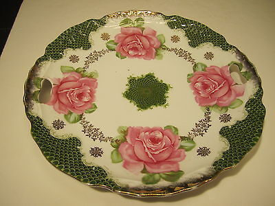 """Beautiful Vintage 10.5"""" Pink Roses Decorated Porcelain Plate From Old Estate"""