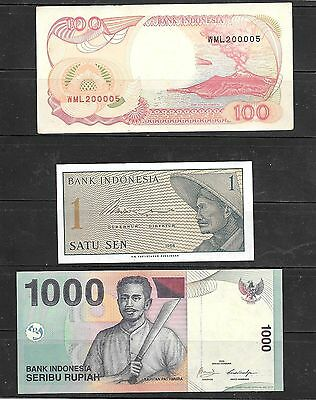 Indonesia 3 Different Unc Banknote Paper Money Currency Note Lot Collection
