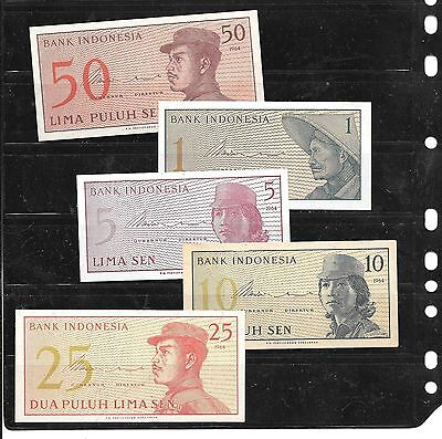 Indonesia 5 Different Unc Old Banknote Paper Money Currency  Note Lot Collection
