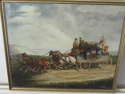 Original Oil on Canvas of a Victorian Stagecoach by B.Shipley