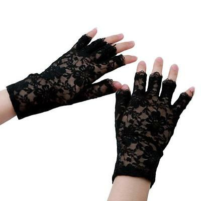 Adult Ladies Black Lace Short Fingerless Gloves Lady 1980's Fancy Dress CB