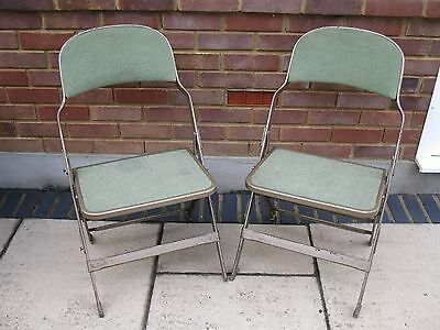Pair of Vintage industrial folding chairs