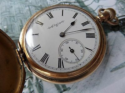 Elgin Full Hunter Pocket Watch 1904 7 Jewels Working Gold Plated Case