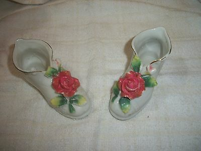 Vintage Pair of Made in Japan Porcelain Shoes with Roses