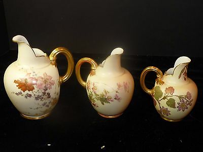 1885 Royal Worcester Blush Aesthetic Movement #1094 Jugs Creamer Pitcher SET/3