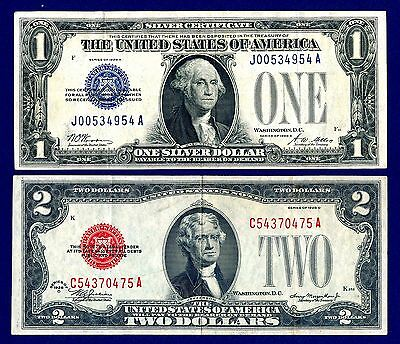 1928 A $1 Funny Back Silver Certificate & 1928 D $2 Red Seal Legal Tender Note