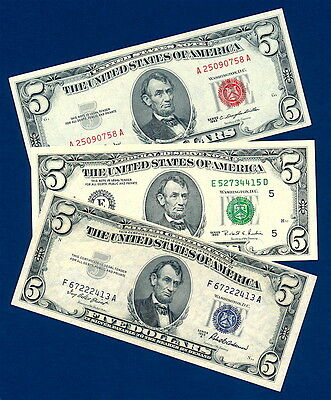 1953A $5 Silver Certificate, 1963 $5 Red Seal Legal Tender, 1995 $5 Green Seal