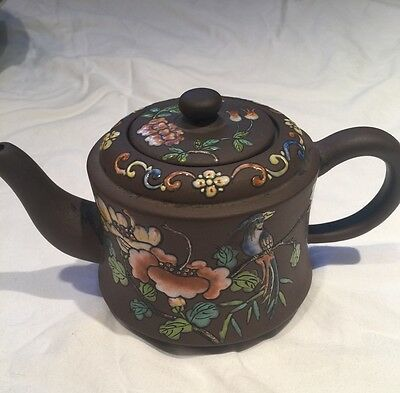 Antique Chinese Colorful Floral Yixing Zisha Teapot Dark Brown Pottery Signed