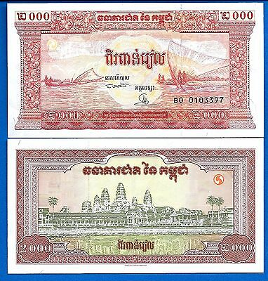Cambodia P-45 2000 Riel ND Year 1995 Uncirculated Banknote Free Shipping