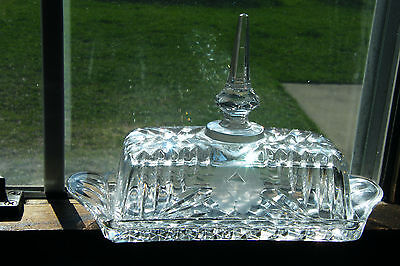 VINTAGE Heavy Pressed Cut Glass Butter Dish with Lid ETCHED FLOWER Elegant