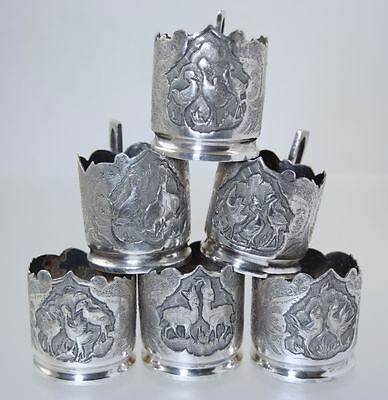 Set of Six ANTIQUE PERSIAN 84 SILVER TEA CUP/GLASS HOLDERS 367.8g c1900