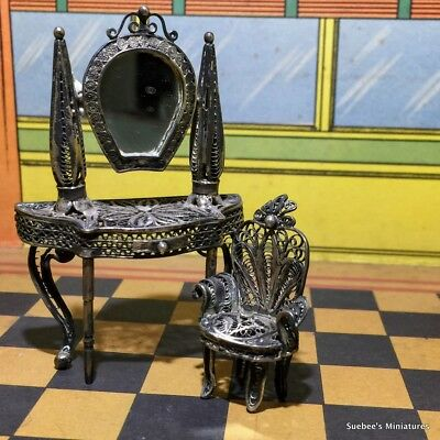 Antique Silver Filigree Miniature Dollhouse Vanity And Chair Elegant!