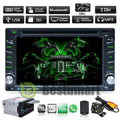 "Double 2 Din 6.2"" Car Stereo DVD CD MP3 Player HD In Dash Bluetooth Radio Camera"
