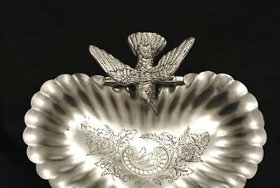 Victorian Quadruple Plate Figural Aesthetic Birds Dish Platter Tray Spoon Etched