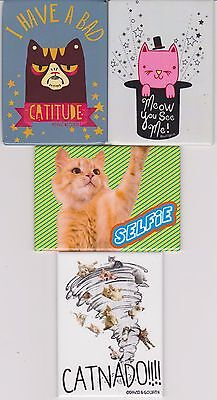 Lot Of 4 Cat Magnets - Refrigerator Magnets