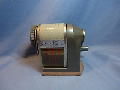 Vintage Old School Hand Crank Pencil Sharpener Sears Table Top Mount~Clean