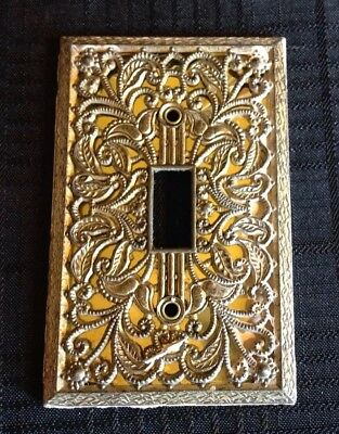 Vintage Metal Single Light Switch Plate Cover Ornate Victorian Floral Design