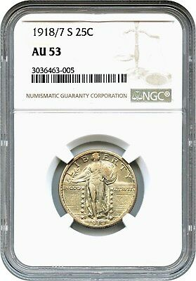 1918/7-S 25c NGC AU53 - Popular and Rare Overdate - Standing Liberty Quarter
