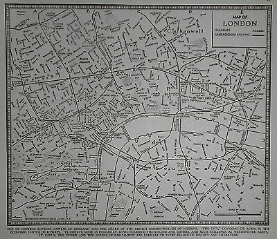Vintage 1941 World Atlas City Map of Central London, England World War WWII OLD