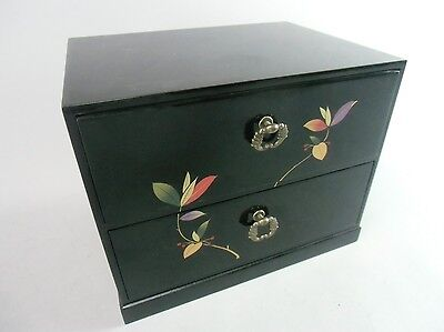 T80 Japanese Haribako Wood Lacquer Chest 2 Drawer Sewing Box Jewelry Vtg Tansu